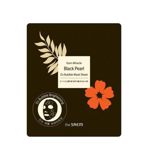 Black Pearl Маска тканевая кислородная с черным жемчугом Gem Miracle Black Pearl O2 Bubble Mask Sheet