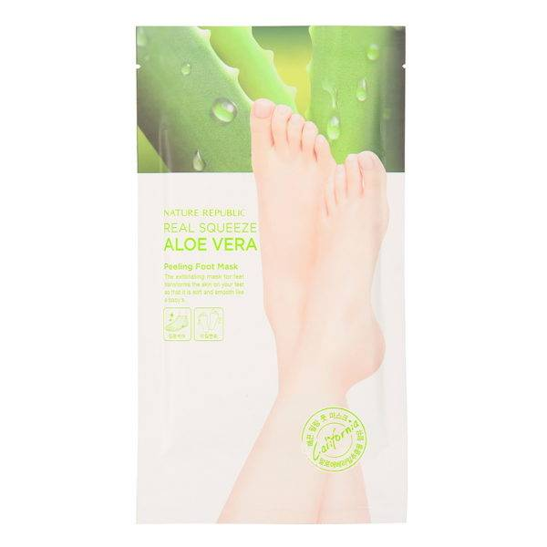 FOOT Пилинг-маска для ног с экстрактом алоэ REAL SQUEEZE ALOE VERA PEELING FOOT MASK 25 гр*2 шт