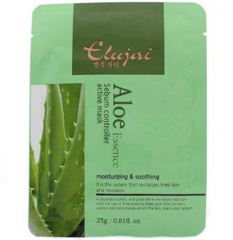 Elujai Sebum Controller Active Mask Aloe Essence Тканевая маска для лица с экстрактом алоэ 23 г