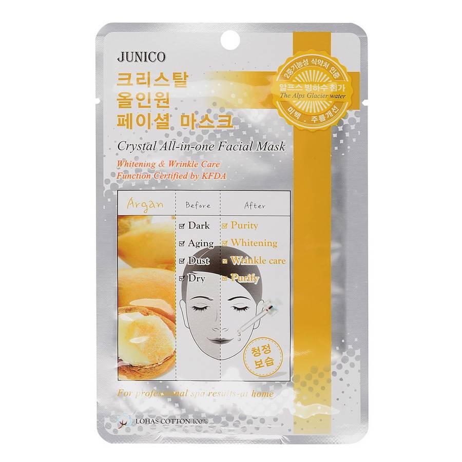 МЖ Junico Crystal Маска тканевая для лица c аргановым маслом Junico Crystal All-in-one Facial Mask Argan 25гр